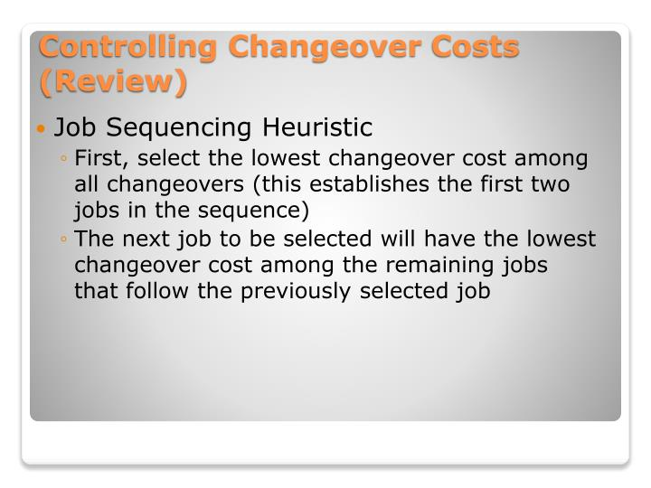 Job Sequencing Heuristic