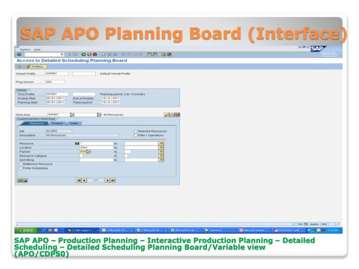 SAP APO Planning Board (Interface)