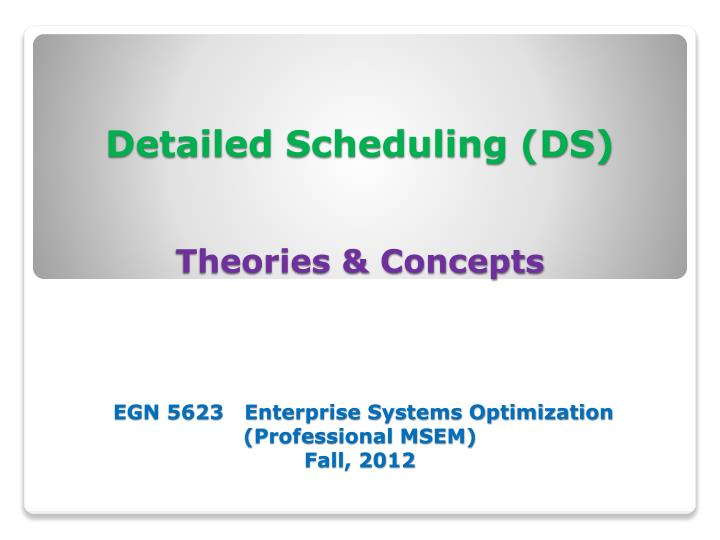Detailed Scheduling (DS)