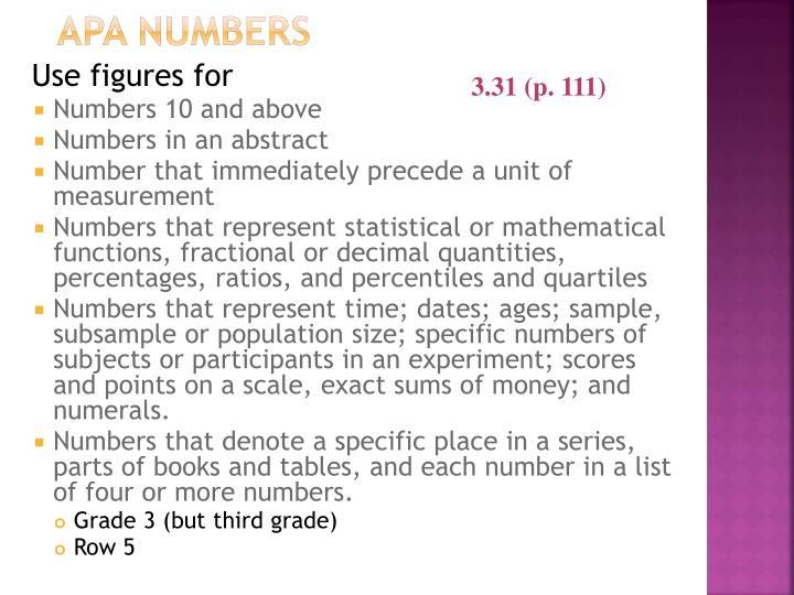 APA Numbers