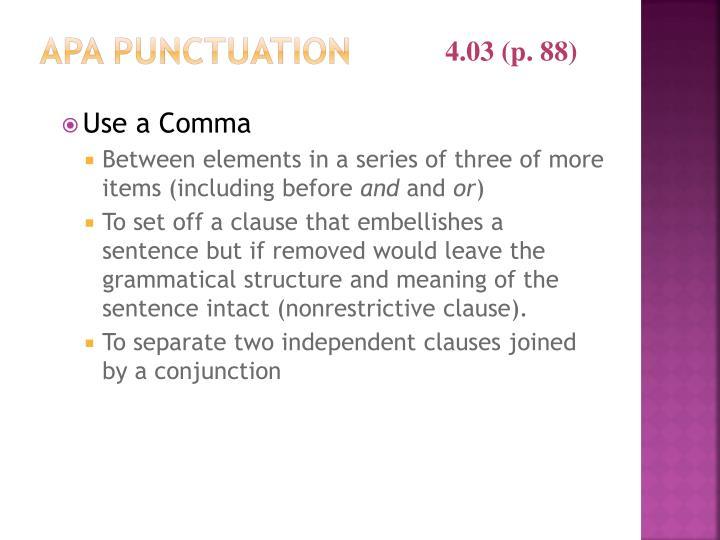 APA Punctuation