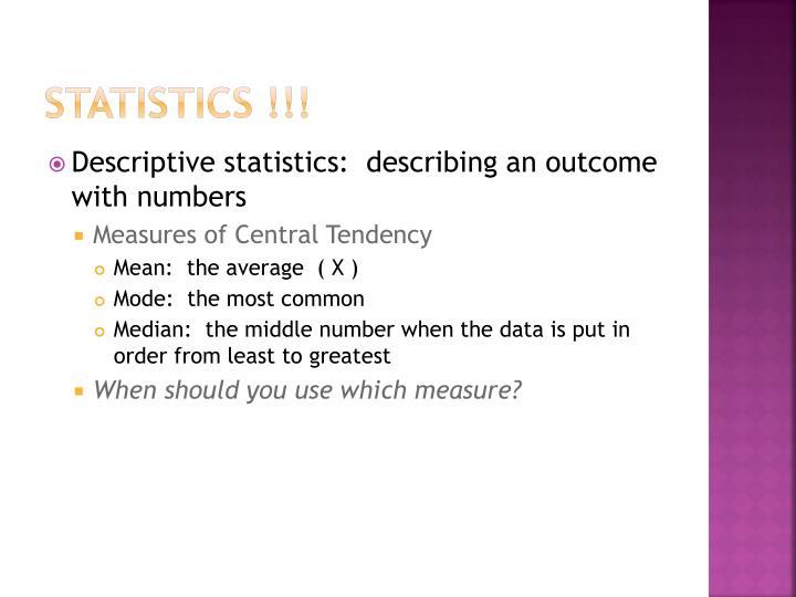 STATISTICS !!!