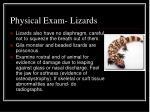 physical exam lizards