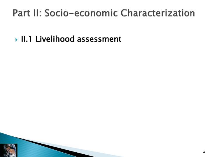 Part II: Socio-economic Characterization