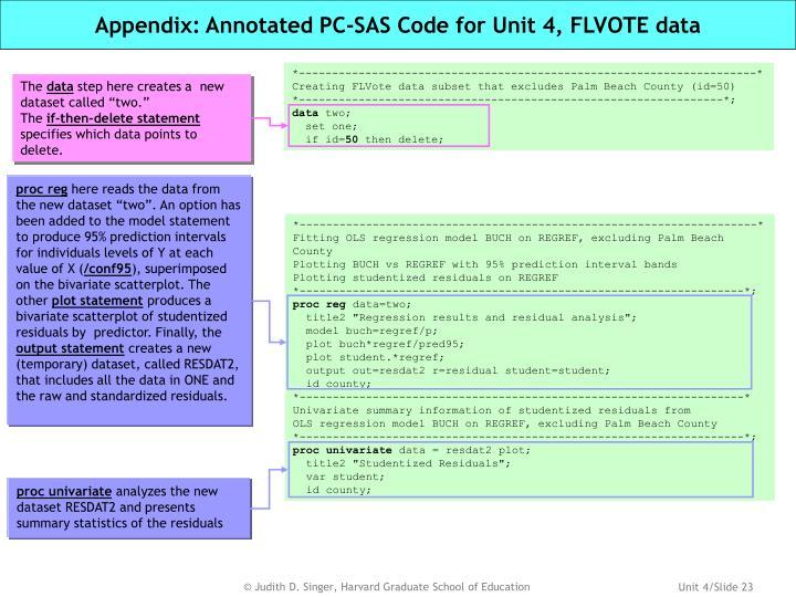 Appendix: Annotated PC-SAS Code for Unit 4, FLVOTE data