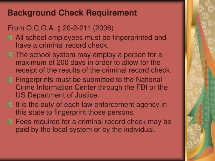 Background Check Requirement