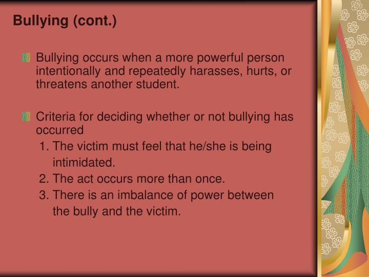 Bullying (cont.)