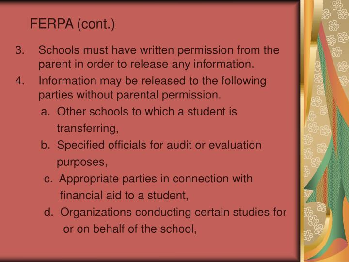 FERPA (cont.)