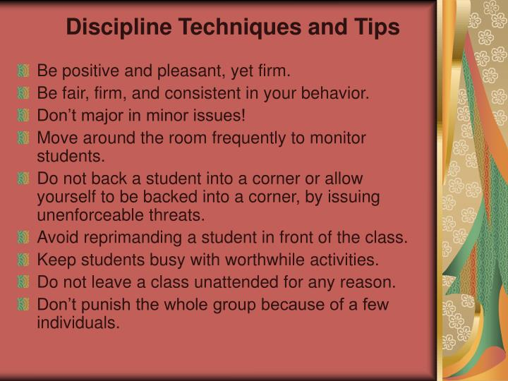 Discipline Techniques and Tips