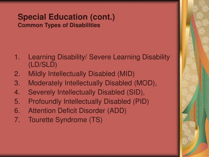Special Education (cont.)