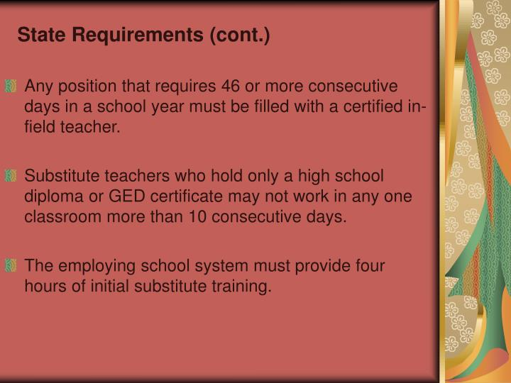 State Requirements (cont.)
