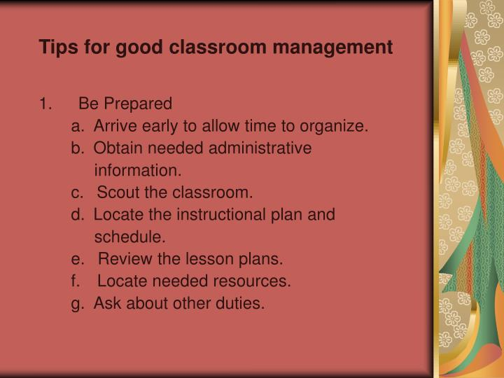 Tips for good classroom management