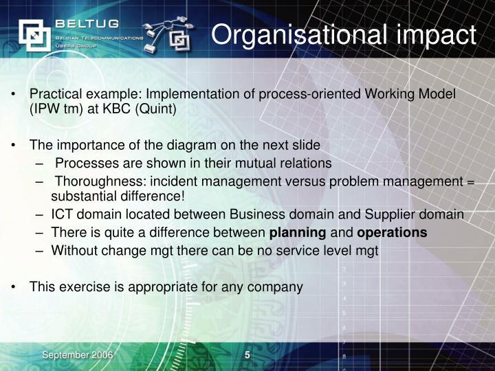 Organisational impact