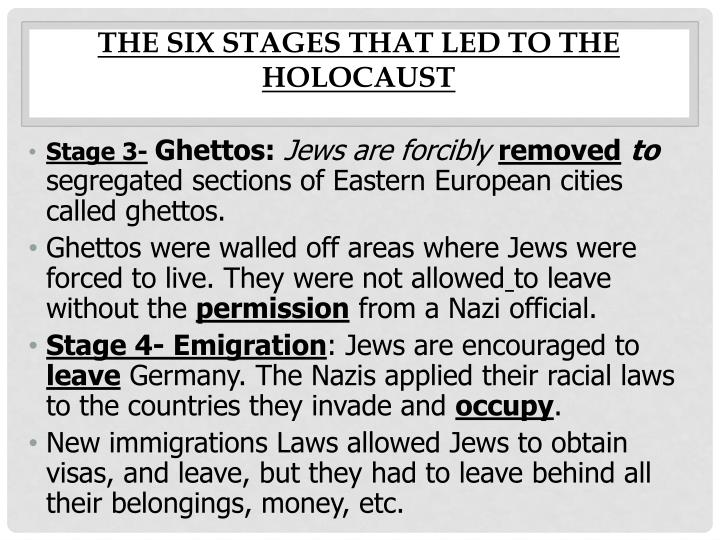 3 stages of the holocaust Stage 3 camps across germany many thousands of communists, socialists, church leaders and anyone else who might criticise the nazis were rounded up by the local police and sa and ss they were put into ghettos.