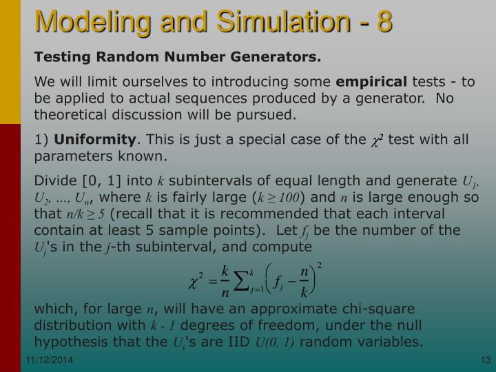 Testing Random Number Generators.