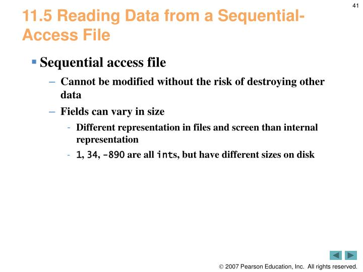11.5 Reading Data from a Sequential-Access File