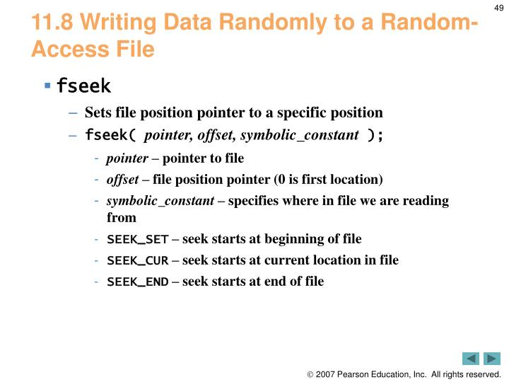 11.8 Writing Data Randomly to a Random-Access File