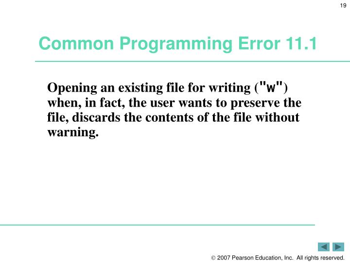 Common Programming Error 11.1