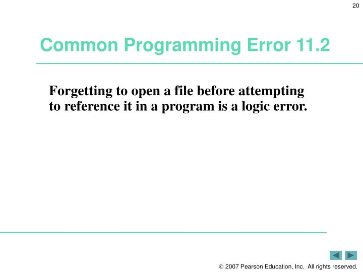 Common Programming Error 11.2