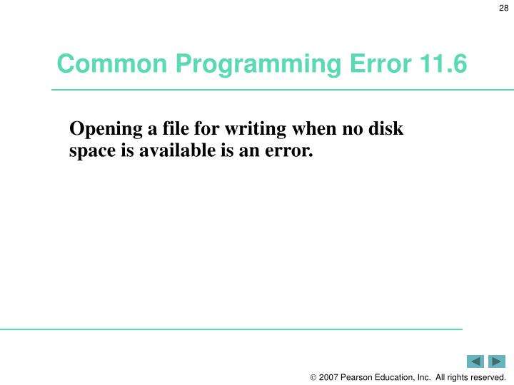 Common Programming Error 11.6