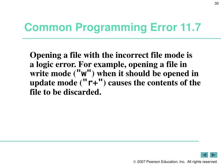 Common Programming Error 11.7