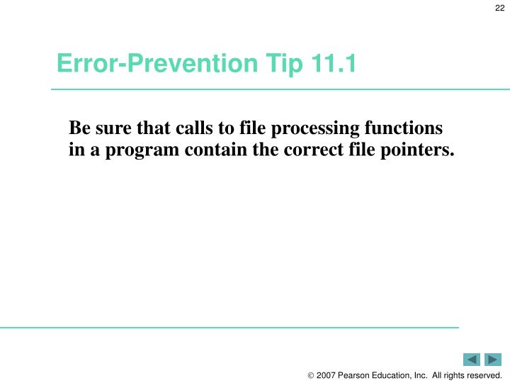 Error-Prevention Tip 11.1