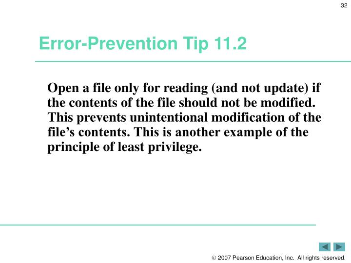Error-Prevention Tip 11.2
