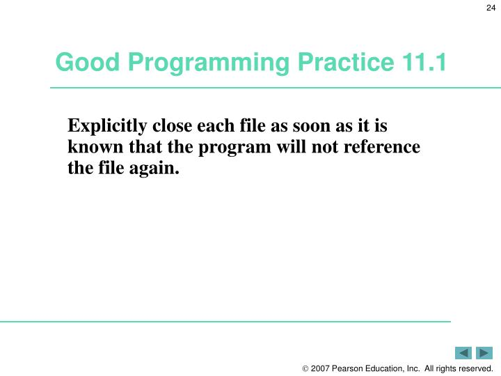 Good Programming Practice 11.1