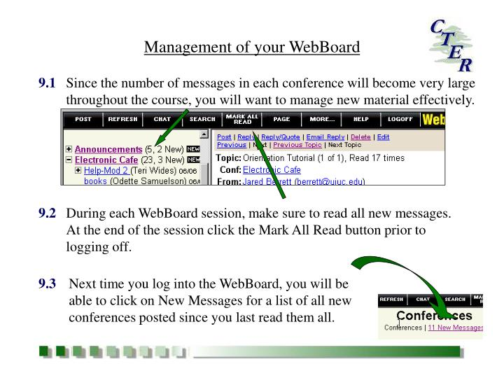 Management of your WebBoard