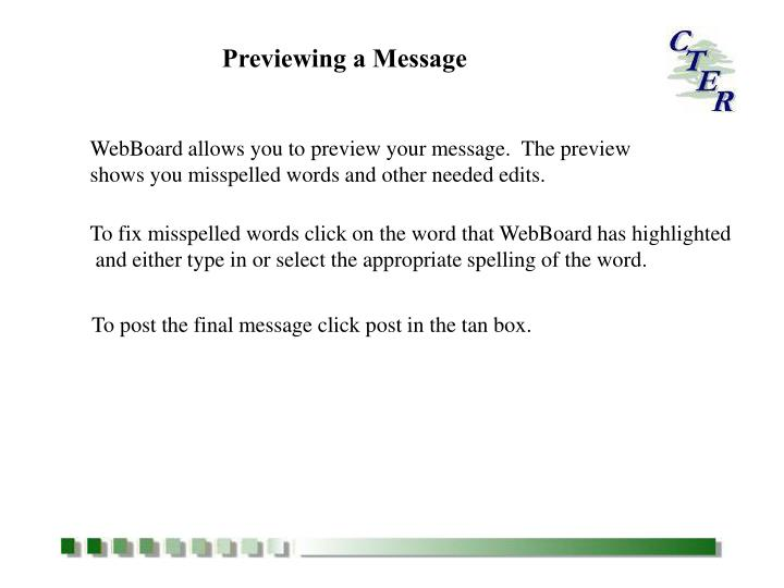 Previewing a Message