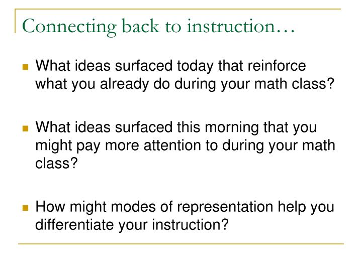 Connecting back to instruction…