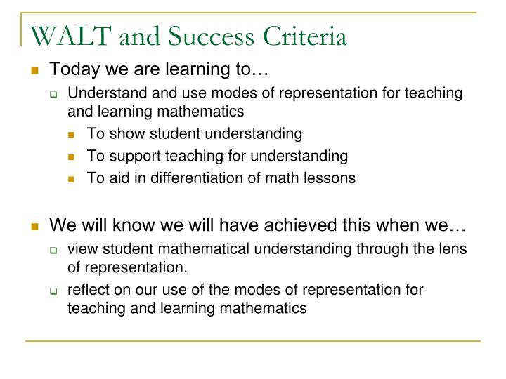 WALT and Success Criteria