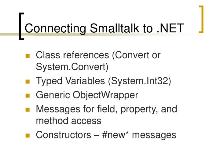 Connecting Smalltalk to .NET