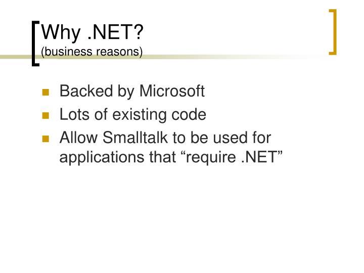 Why .NET?