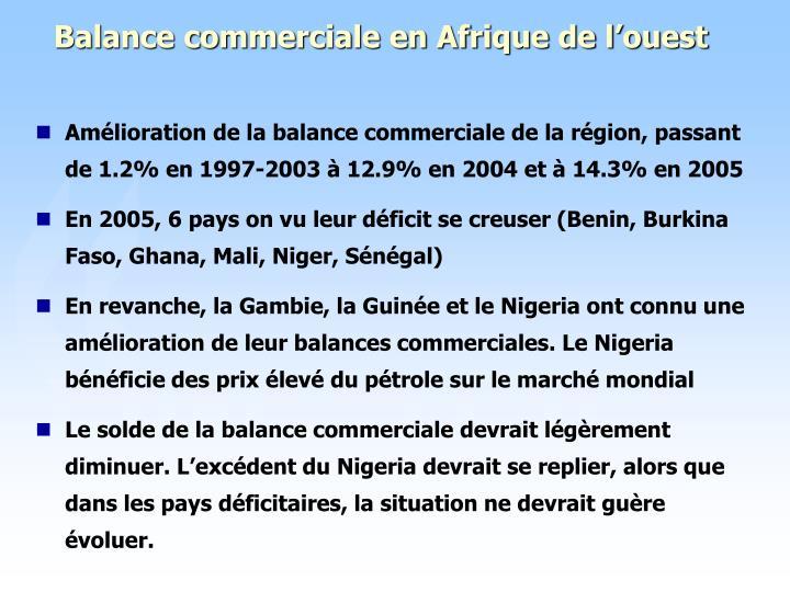Balance commerciale en Afrique de l'ouest