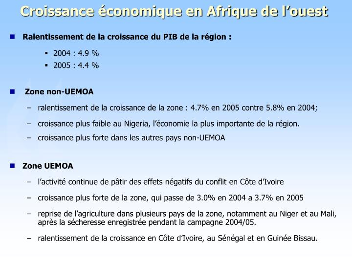 Croissance économique en Afrique de l'ouest