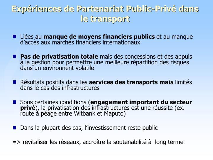 Expériences de Partenariat Public-Privé dans le transport