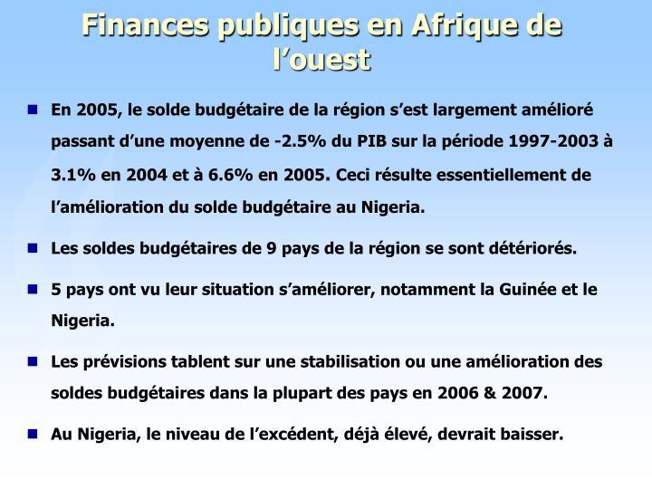Finances publiques en Afrique de l'ouest