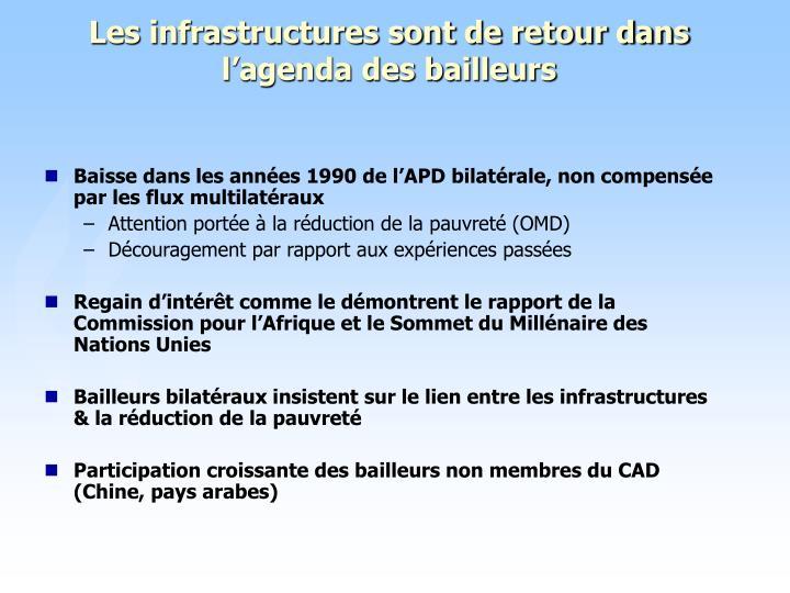Les infrastructures sont de retour dans l'agenda des bailleurs