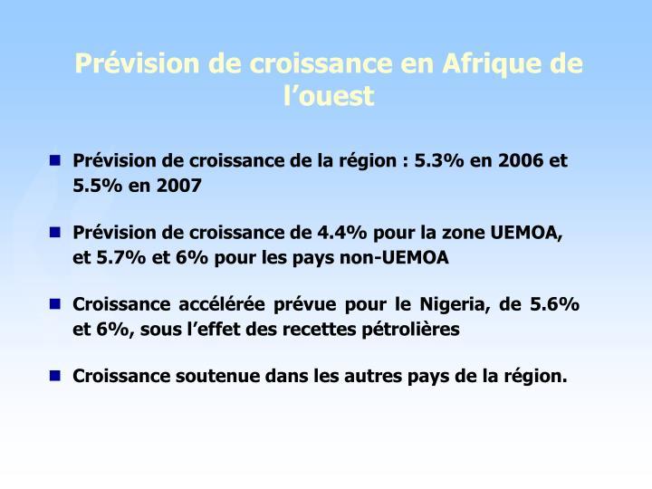 Prévision de croissance en Afrique de l'ouest