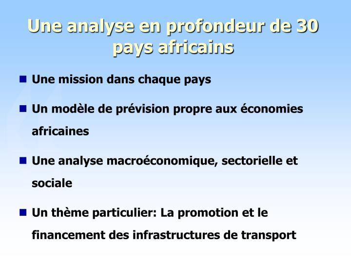 Une analyse en profondeur de 30 pays africains