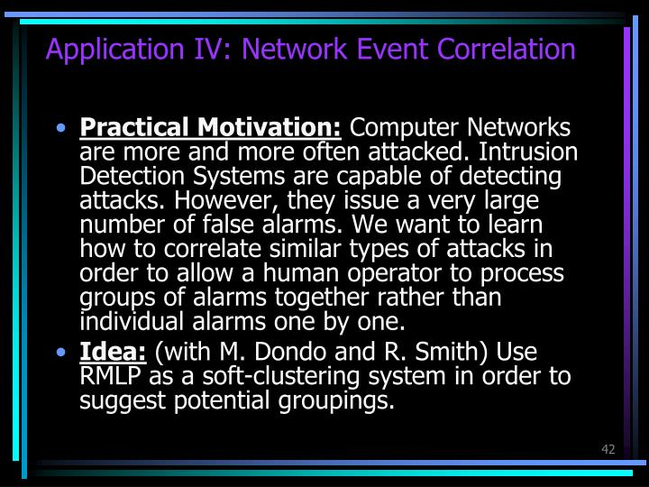 Application IV: Network Event Correlation