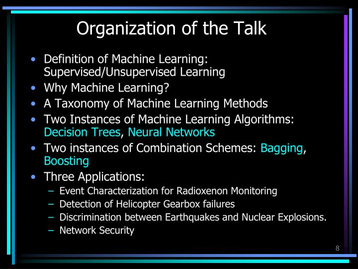 Organization of the Talk