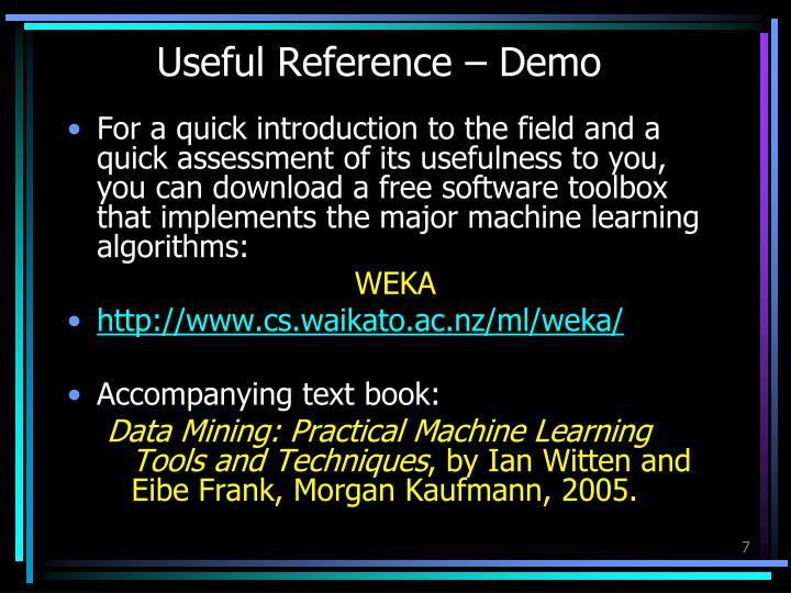 Useful Reference – Demo