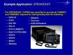 example application speakeasy