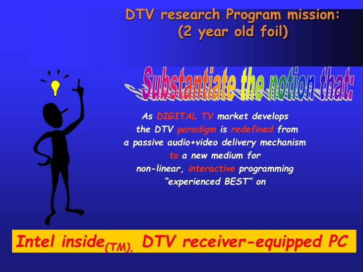Dtv research program mission 2 year old foil