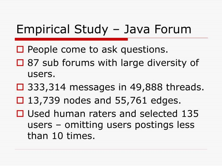 Empirical Study – Java Forum