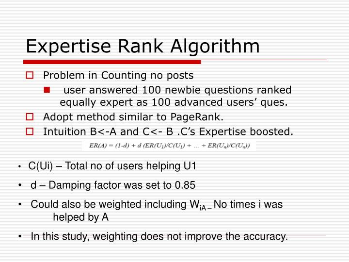 Expertise Rank Algorithm