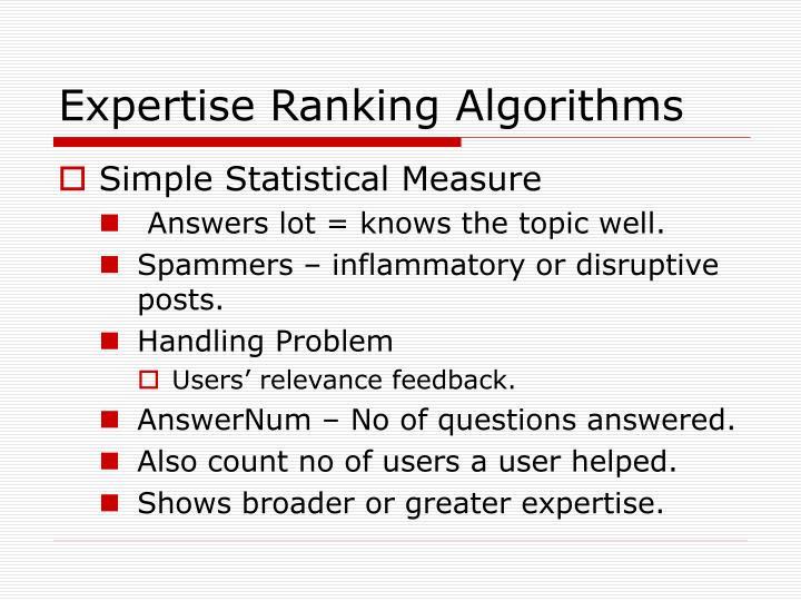 Expertise Ranking Algorithms