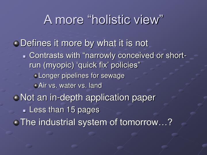 "A more ""holistic view"""